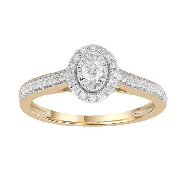 Cluster Ring with 0.25ct Diamonds in 9K Yellow Gold