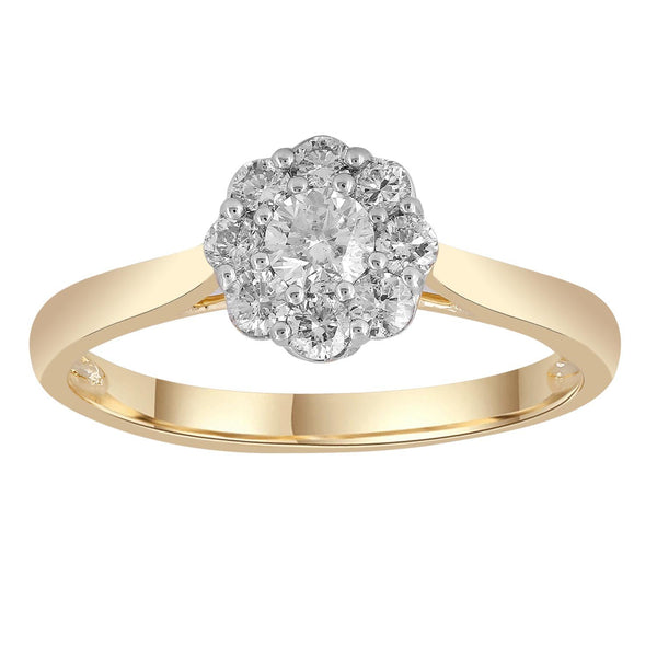 Cluster Ring with 0.5ct Diamonds in 9K Yellow Gold