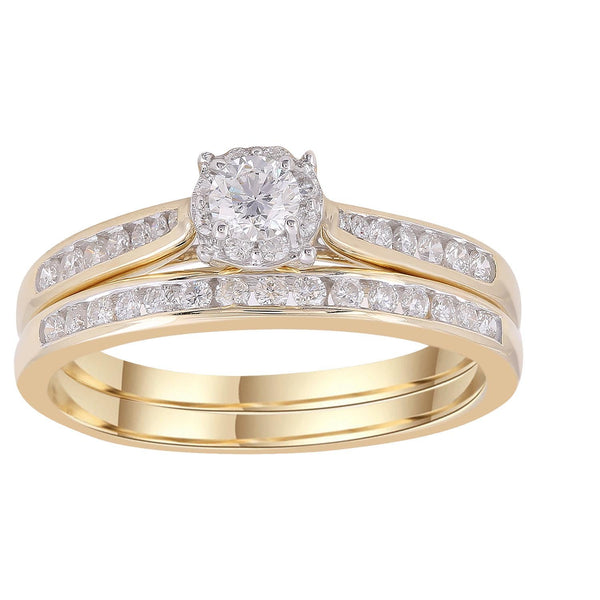 Engagement & Wedding Ring Set with 0.5ct Diamonds in 9K Yellow Gold