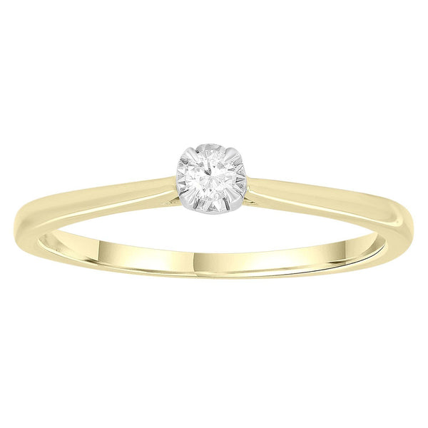 Solitaire Ring with 0.07ct Diamonds in 9K Yellow Gold
