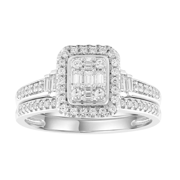 Engagement & Wedding Ring Set with 0.4ct Diamonds in 9K White Gold