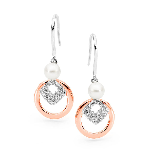 14ct Rose Gold Plated Sterling Silver Freshwater Pearl & Cubic Zirconia Hook Earrings