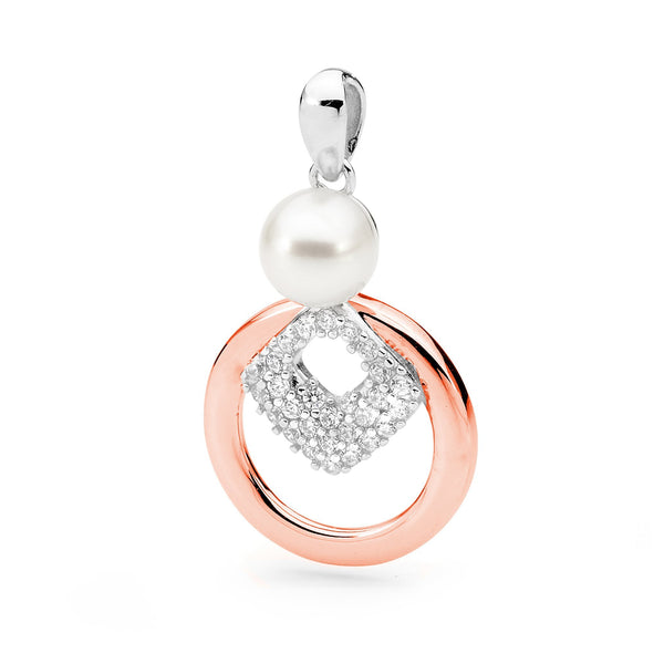 14ct Rose Gold Plated Sterling Silver Freshwater Pearl & Cubic Zirconia Pendant