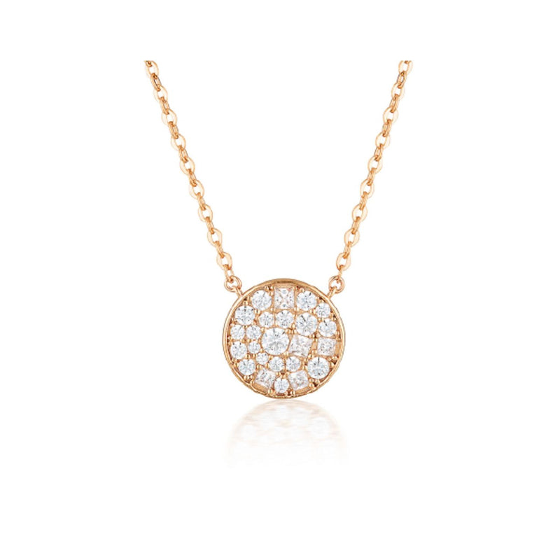 Georgini - Mosaic Disc Rose Gold Cubic Zirconia Necklet