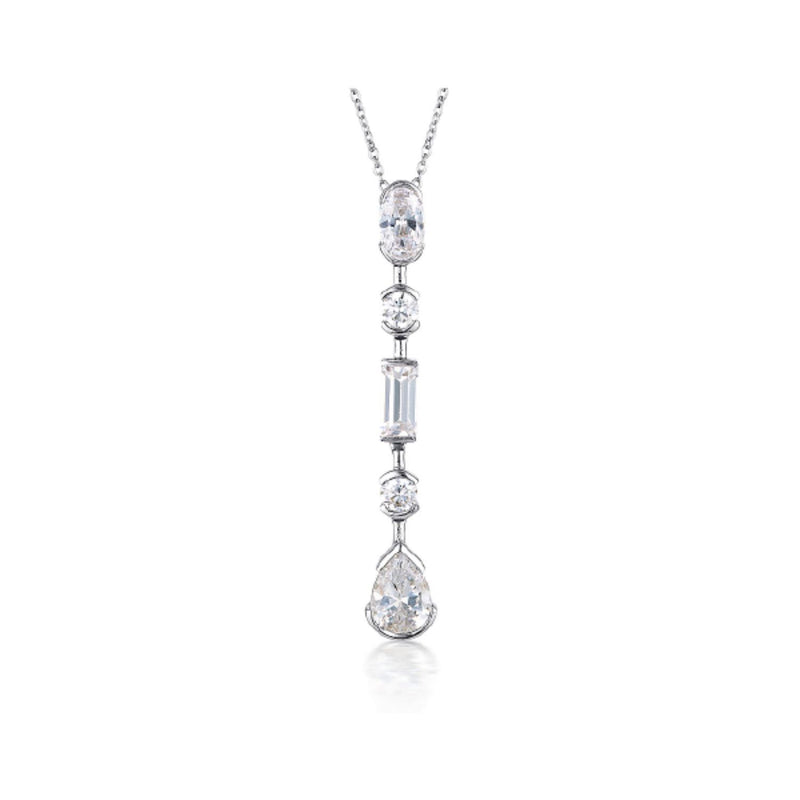 Georgini - Mosaic Long Drop Sterling Silver Cubic Zirconia Necklet