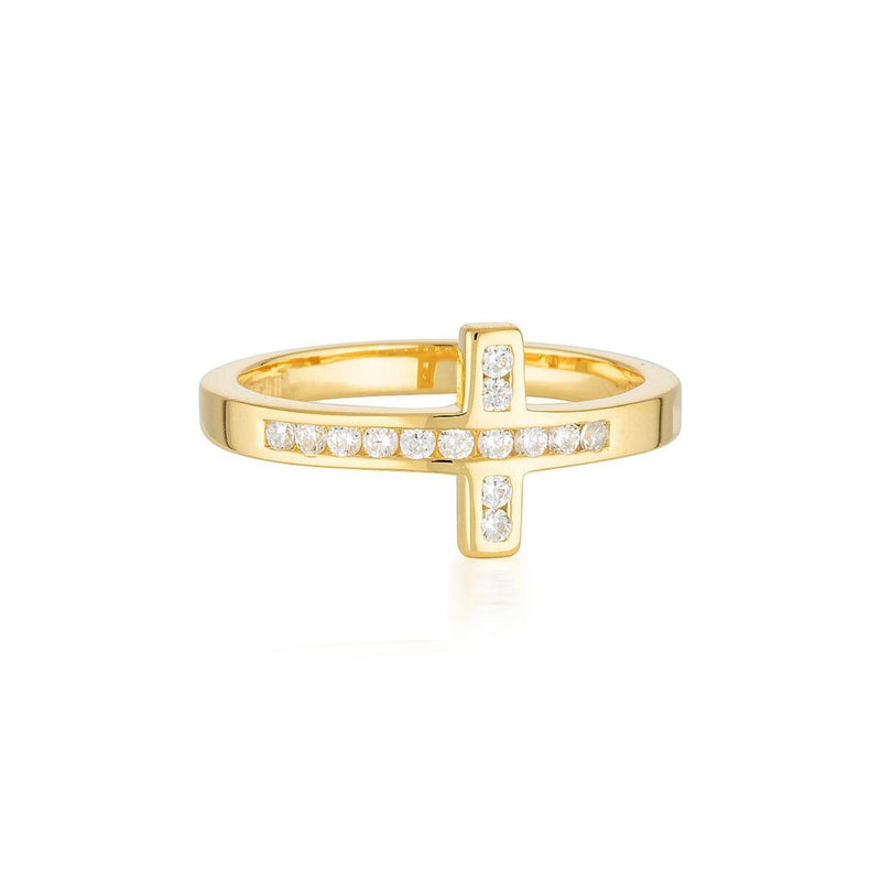 Georgini - Spiritus 18ct Gold Plated Sterling Silver Cubic Zirconia Wrap Cross Ring