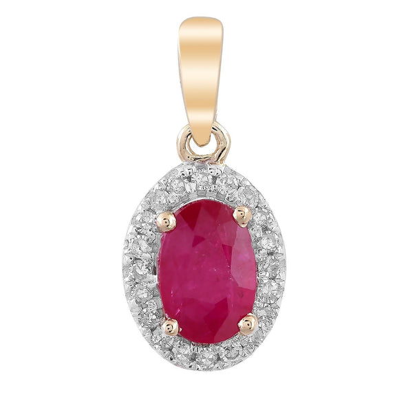 Ruby Pendant with 0.07ct Diamonds in 9K Yellow Gold