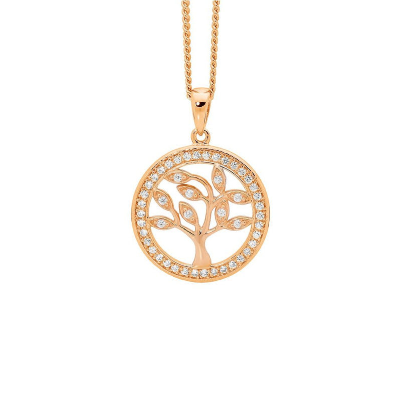 Sterling Silver Cubic Zirconia Sml 'Tree of Life' Pendant w/ Cubic Zirconia Surround, Rose Gold Plating