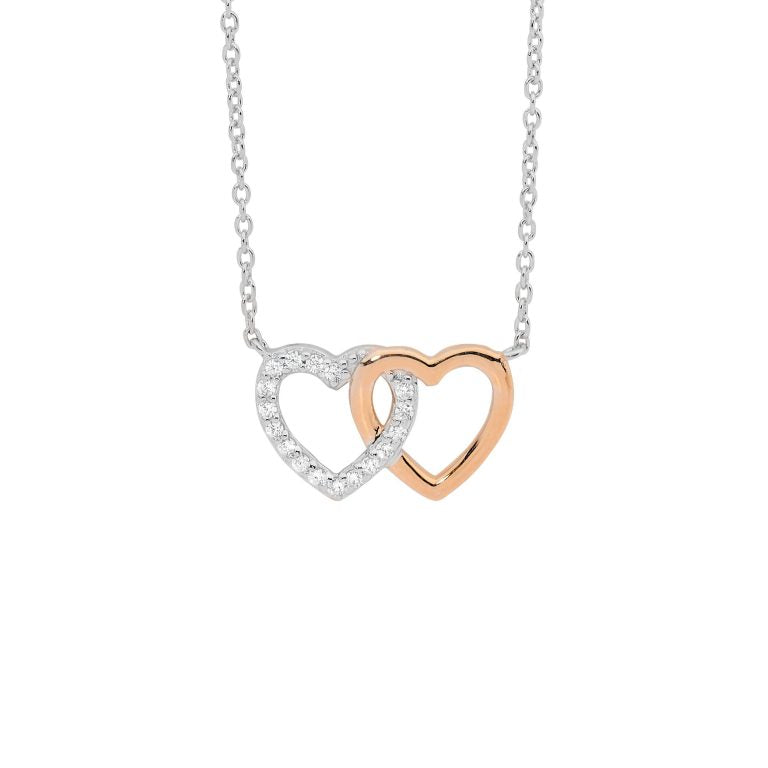 Sterling Silver Cubic Zirconia Double Linked Heart, attached chain w/ Rose Gold Plating