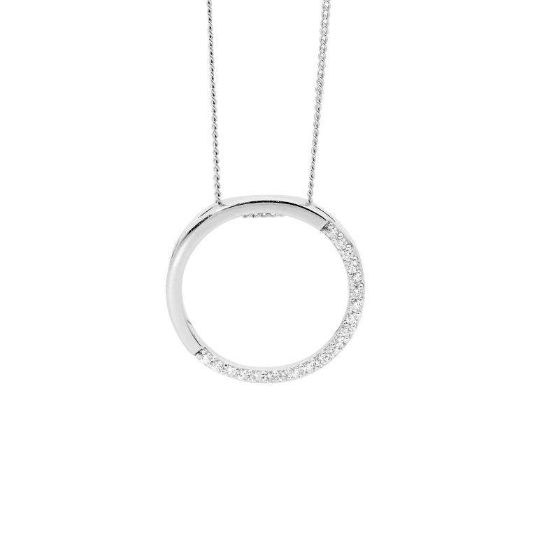 Sterling Silver 20mm Open Circle, Half  Cubic Zirconia Pendant