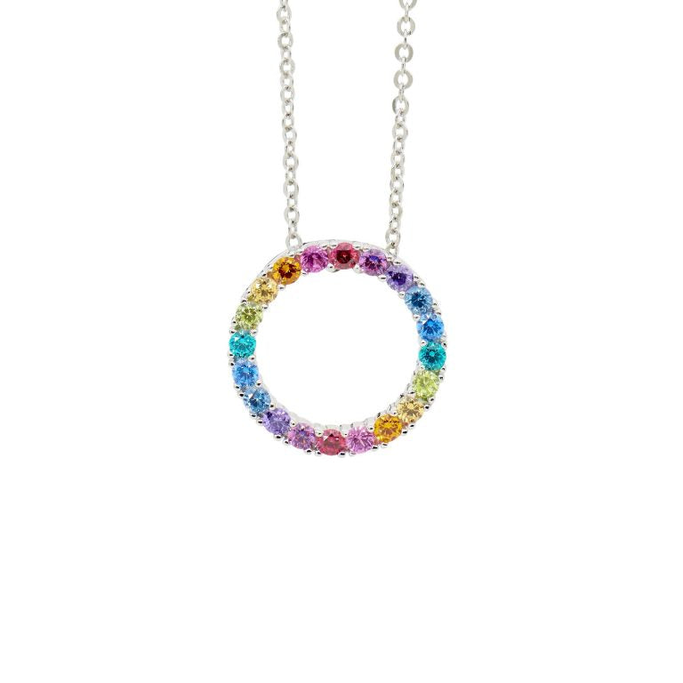 Sterling Silver multi colour Cubic Zirconia 16mm open circle pendant