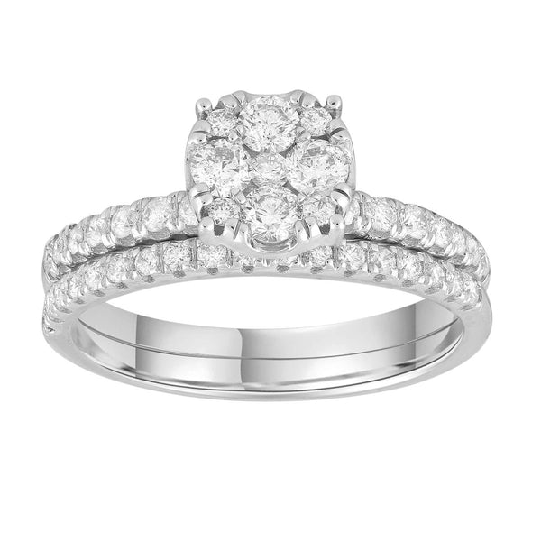Engagement & Wedding Ring Set with 0.73ct Diamonds in 9K White Gold