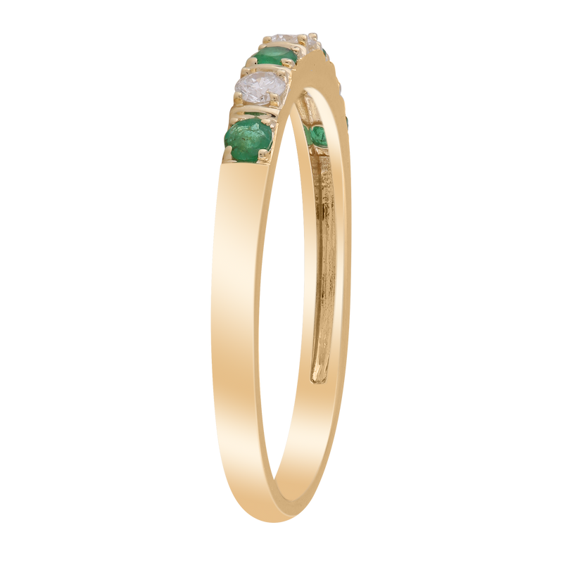 Emerald Ring with 0.1ct Diamonds in 9K Yellow Gold
