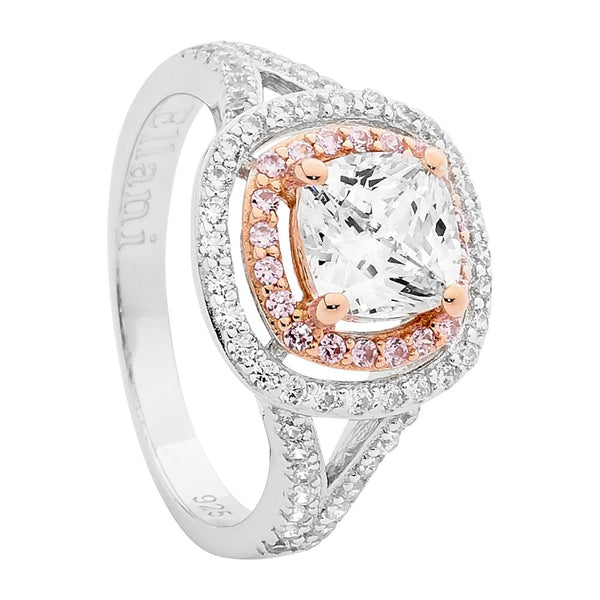 Rose Gold Plated Sterling Silver Cubic Zirconia Ring