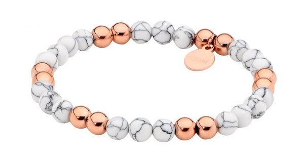 Stainless Steel 6mm Howlite Ball Stretch Bracelet w/ Rose Gold IP Plating