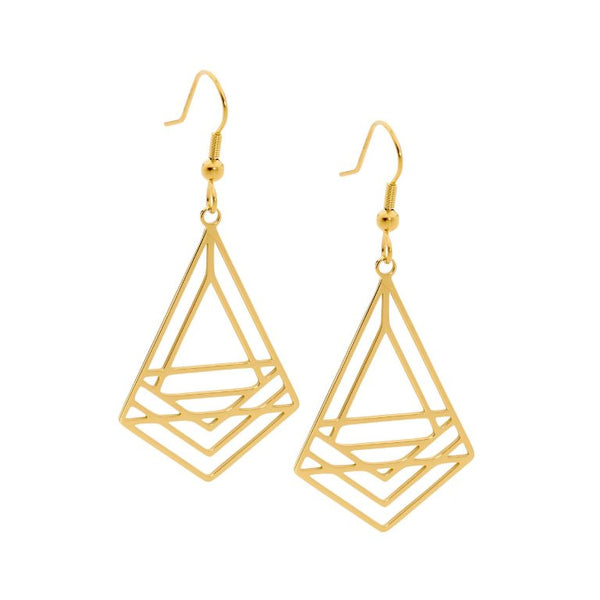 Stainless Steel Abstract Triangle Drop Earrings w/ Gold IP Plating