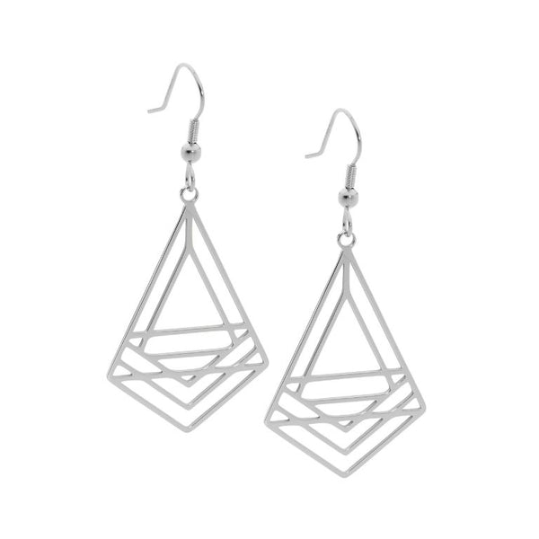Stainless Steel Abstract Triangle Drop Earrings