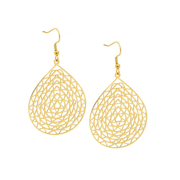 Stainless Steel Abstract Large Tear Drop Earrings w/ Gold IP Plating