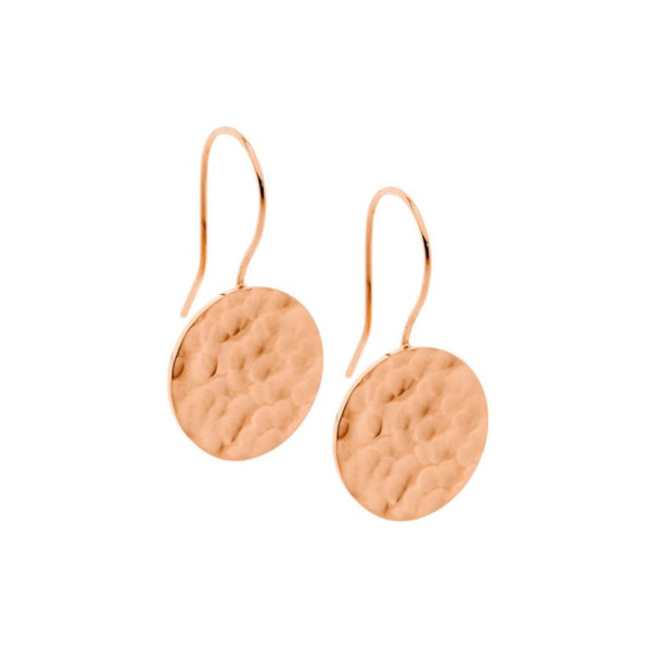 Stainless Steel Hammered Effect Circle Drop Earrings w/ Rose Gold IP Plating