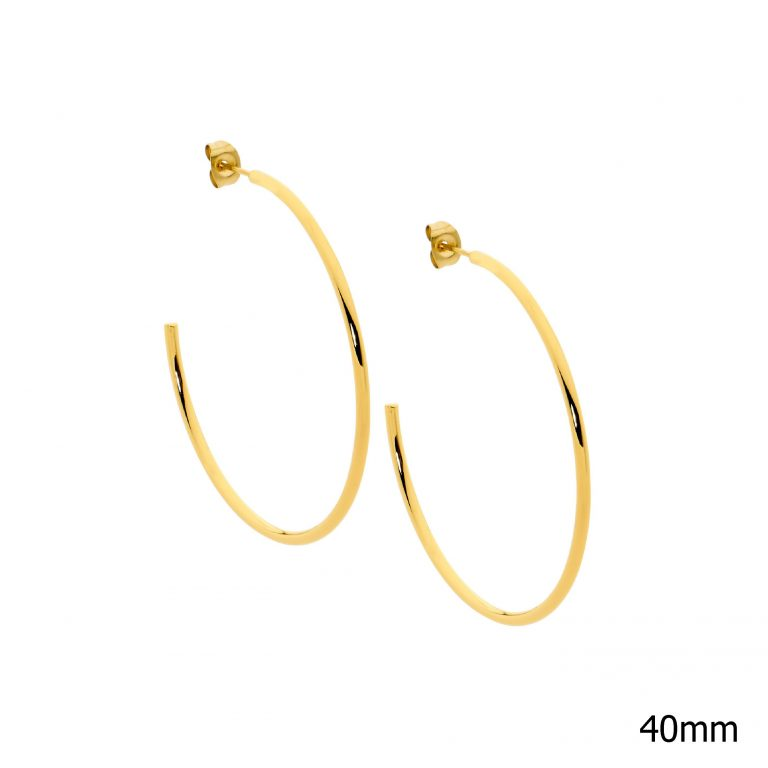 Stainless Steel 40mm Hoop Earrings w/ Gold IP Plating