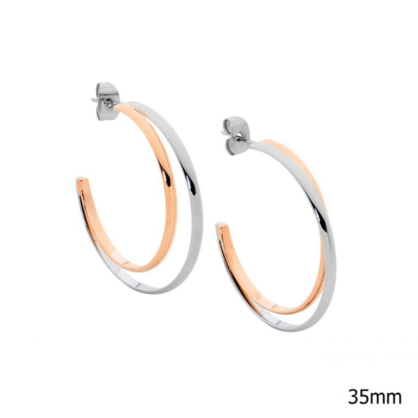Stainless Steel 35mm Double Row Hoop Earrings w/ Rose Gold IP Plating