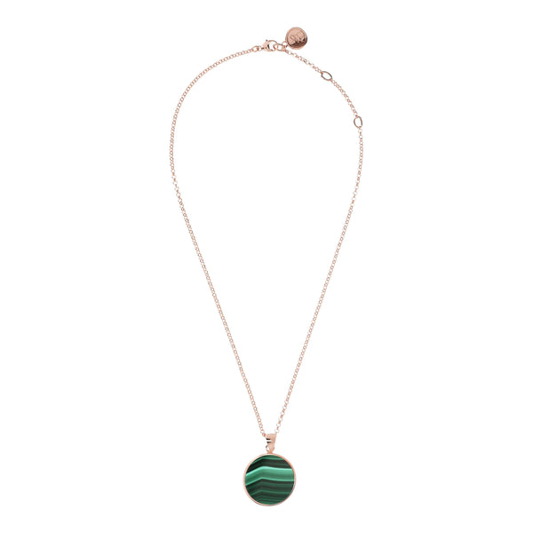 Bronzallure Malachite Disc Necklace