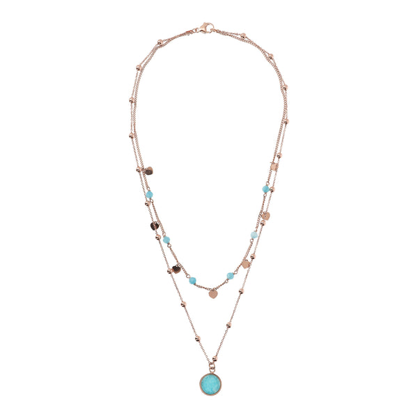 Bronzallure Two Strands Amazonite Necklet