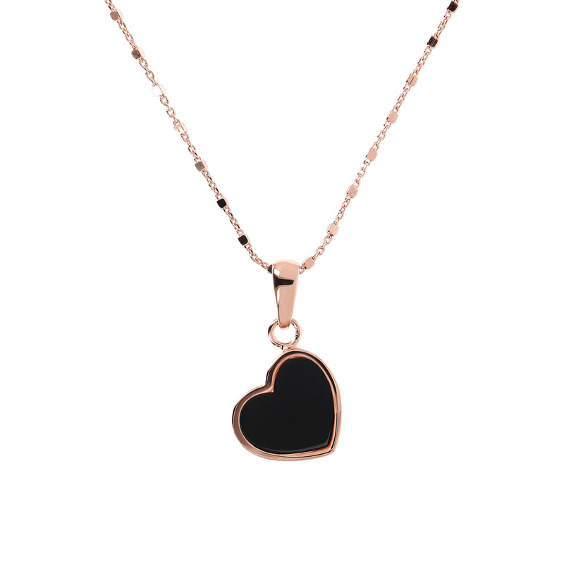 Bronzallure Black Onyx Mini Heart Pendant Necklace