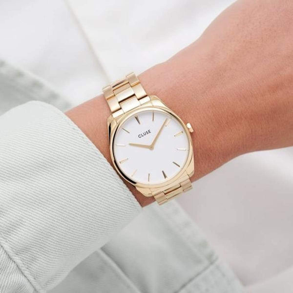 CLUSE Feroce 33 Gold White/Gold Link Ladies Watch
