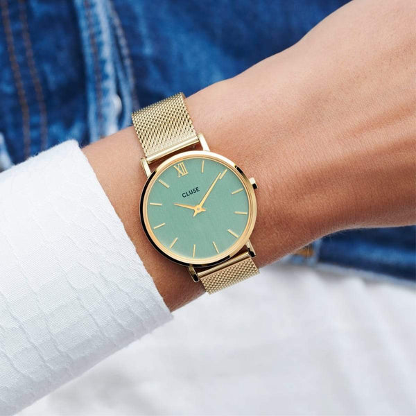 CLUSE Minuit Gold Stone Green/Gold Mesh Ladies Watch