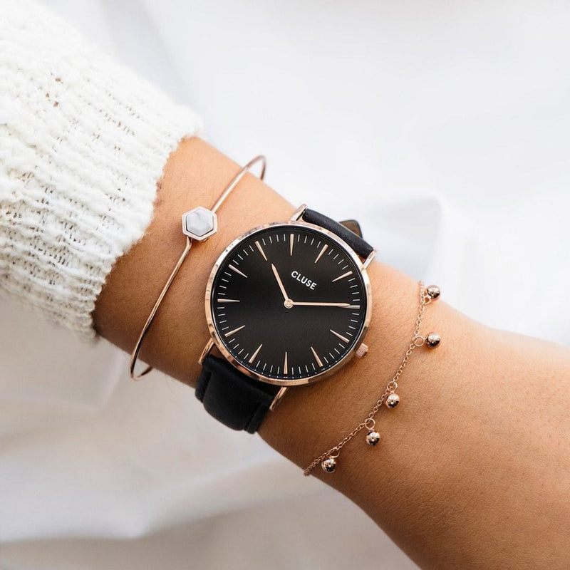 CLUSE La Boheme Rose Gold Black/Black Ladies Watch