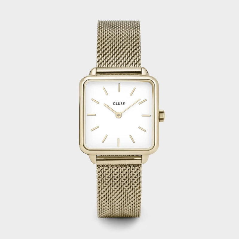 CLUSE La Tetragone Gold Mesh/White Ladies Watch