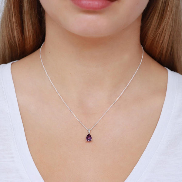 Amethyst Pendant with 0.02ct Diamonds in 9K White Gold