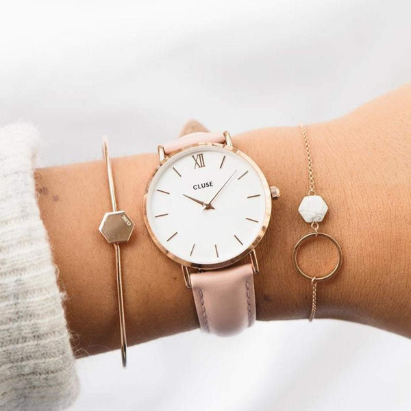 CLUSE Minuit Rose Gold White/Pink Ladies Watch