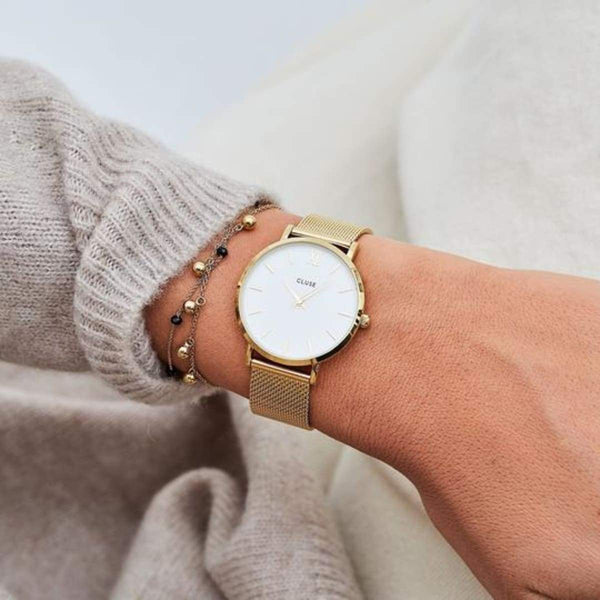 CLUSE Minuit Mesh Gold/White Ladies Watch
