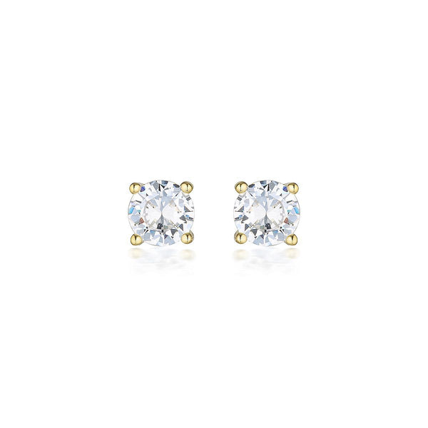 Georgini - 9Ct Yellow Gold 7.5Mm 3Ct Cubic Zirconia Round Stud Earrings