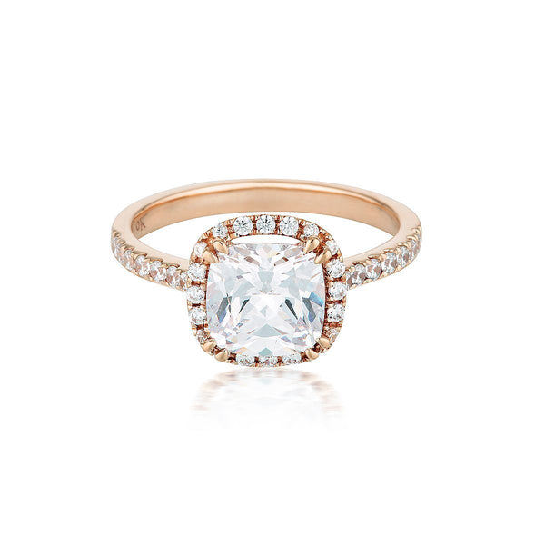 Georgini - Cushion Cut Halo 1.5Ct Cubic Zirconia Engagement Ring In 9Ct Rose Gold