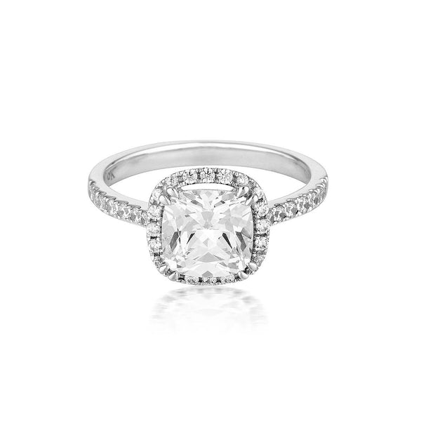 Georgini - Cushion Cut Halo 1.5Ct Cubic Zirconia Engagement Ring In 9Ct White Gold