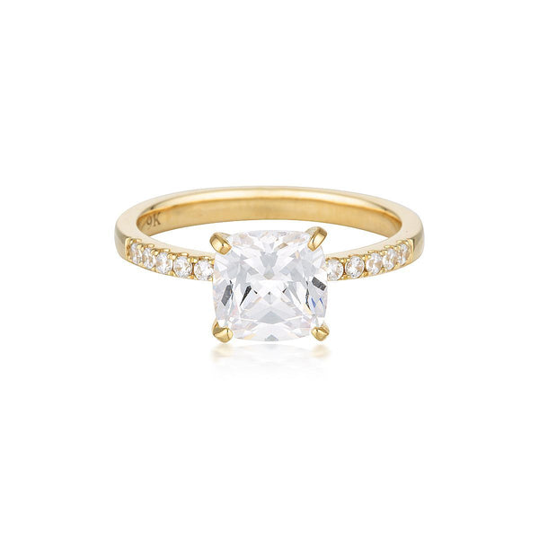 Georgini - Cushion Cut 1.5Ct Cubic Zirconia Engagement Ring In 9Ct Yellow Gold