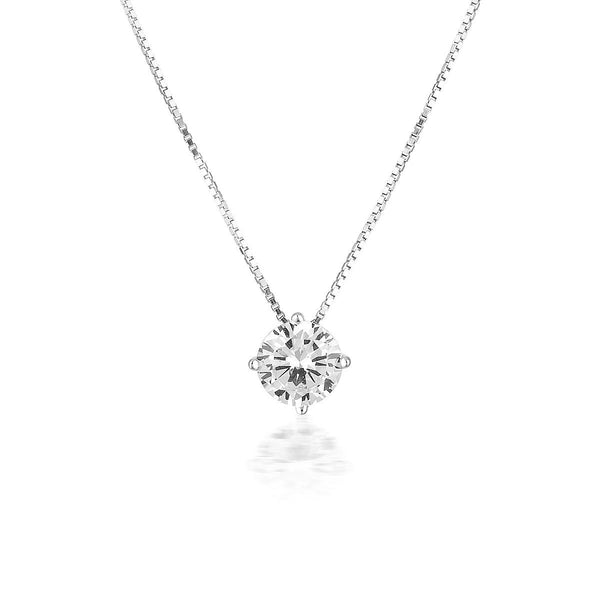 Georgini - 9Ct White Gold 6.5Mm 2Ct Cubic Zirconia Round Pendant