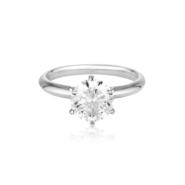 Georgini - Round Brilliant Cut 2Ct Cubic Zirconia Solitaire With Knife Edge Band In 9Ct White Gold