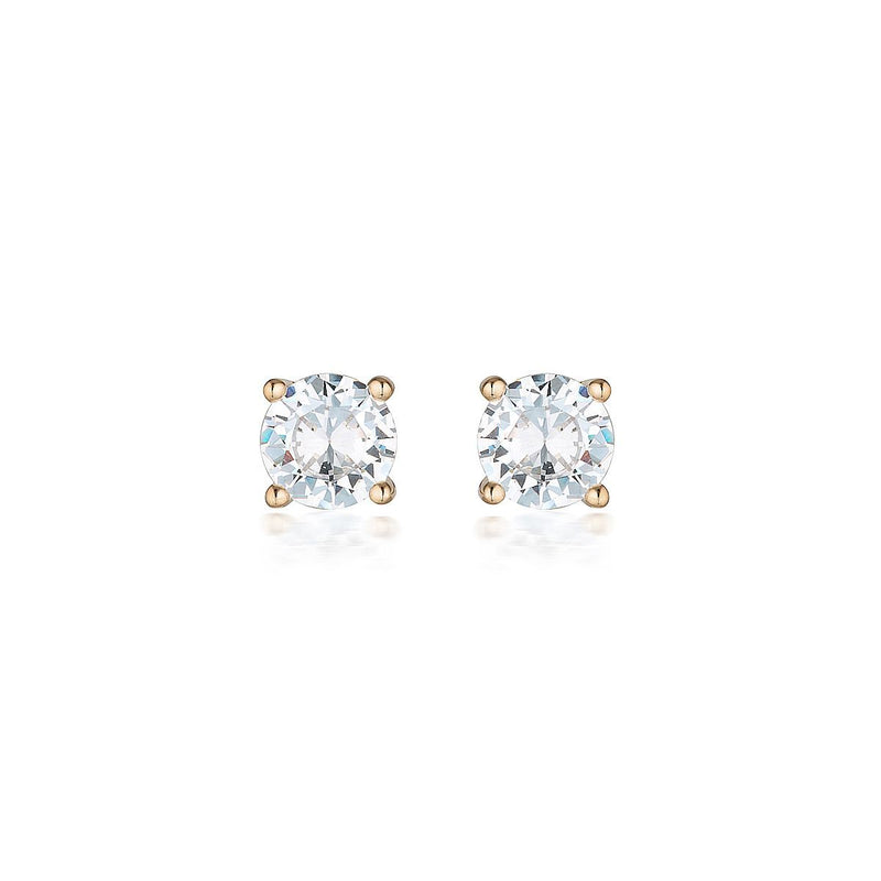 Georgini - 9Ct Rose Gold 7.5Mm 3Ct Cubic Zirconia Round Stud Earrings