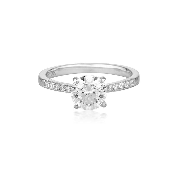 Georgini - Round Brilliant Cut 1.25Ct Cubic Zirconia Engagement Ring In 9Ct White Gold