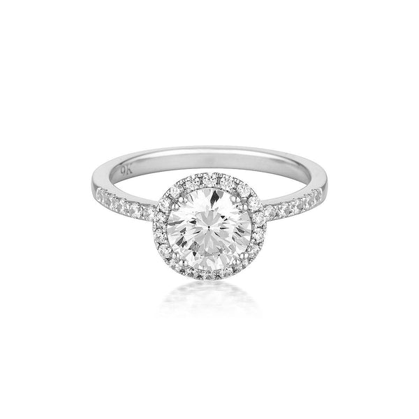 Georgini - Round Brilliant Cut 1.25Ct Cubic Zirconia Halo Engagement Ring In 9Ct Yellow Gold