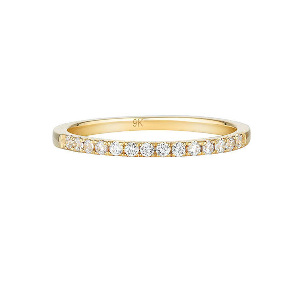 Georgini - Round Brilliant Cut Cubic Zirconia Wedding Band In 9Ct Yellow Gold