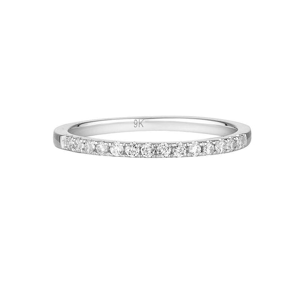 Georgini - Round Brilliant Cut Cubic Zirconia Wedding Band In 9Ct White Gold