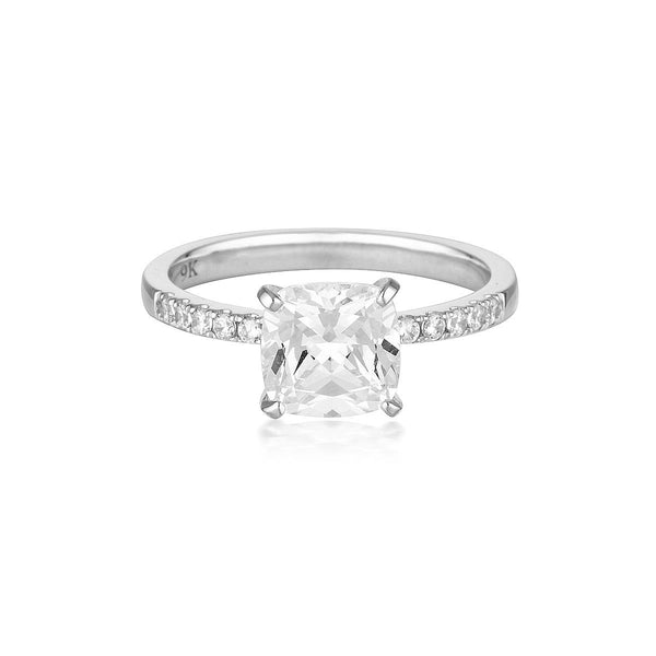 Georgini - Cushion Cut 1.5Ct Cubic Zirconia Engagement Ring In 9Ct White Gold