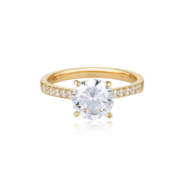Georgini - Round Brilliant Cut 2Ct Cubic Zirconia Engagement Ring In 9Ct Yellow Gold