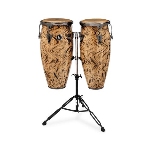 Latin Percussion LPA646-HC 10&11inch Aspire Wood Conga Set w/Double Stand, Havana Café