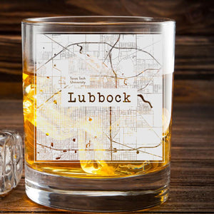 College Town Etched Map Whiskey Glasses